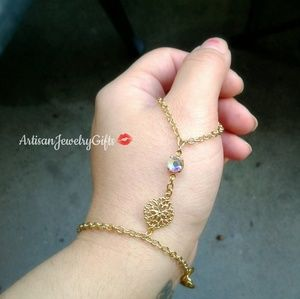 Boho Thumb Hand Chain Aurora Borealis Bracelet